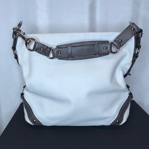 Coach off white leather/grey buckle Carly hobo bag